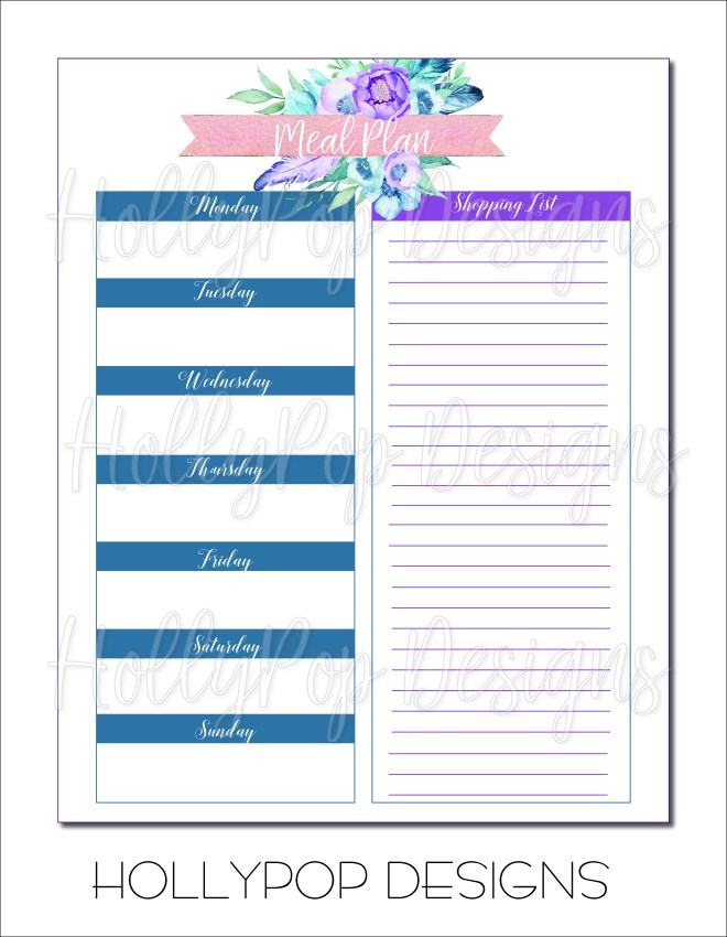 Printable menu planner and shopping list