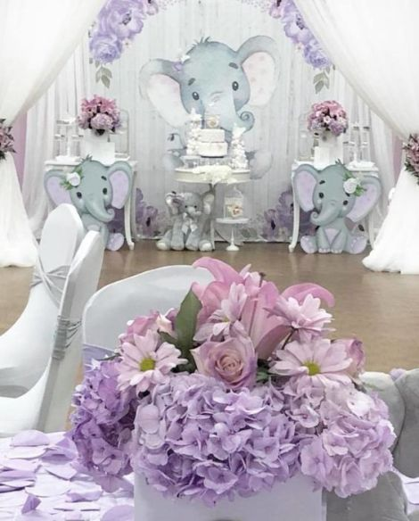 Spring Time Elephant Baby Shower Theme