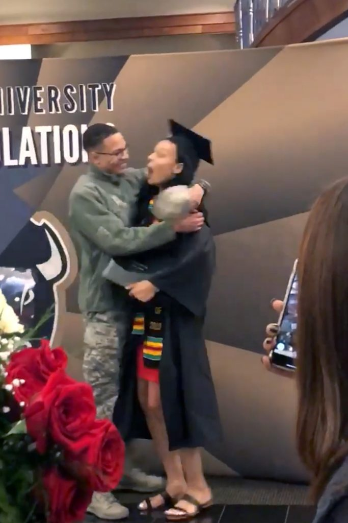 The moment Makayla Twigg is surprised by her brother Airman 1st Class Daylon Twigg