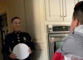 Marine surprising his mom