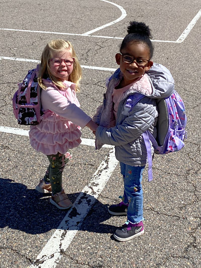 Pre-school Best Friends, 3, Warm Hearts With Morning Routine, As They Share Much Needed Hug Before Walking Into School Holding Hands