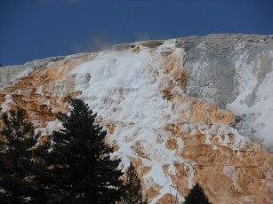 Mammoth Hot Springs -- hot water dissolves the limestone, then leaves it behind in white deposits as it cascades down.