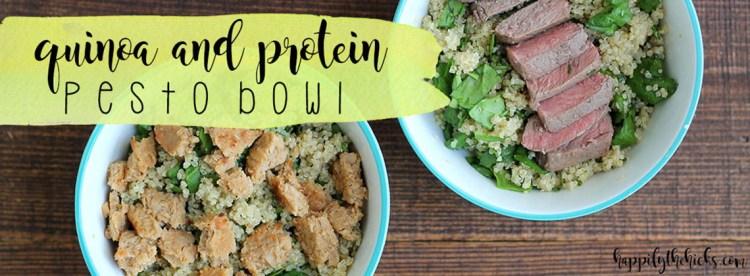 Quinoa and Protein Pesto Bowl   read more at happilythehicks.com