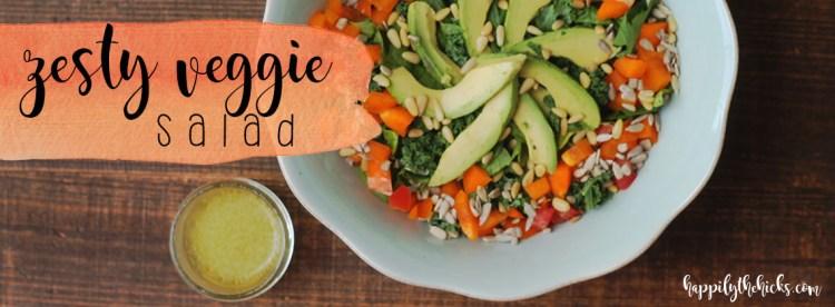Zesty Veggie Salad   read more at happilythehicks.com