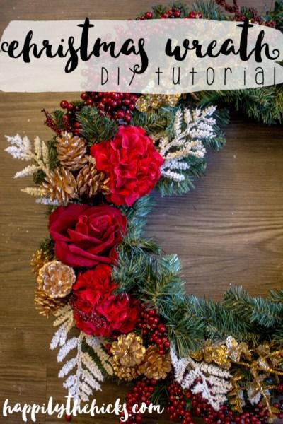 Christmas Wreath DIY Tutorial | read more at happilythehicks.com