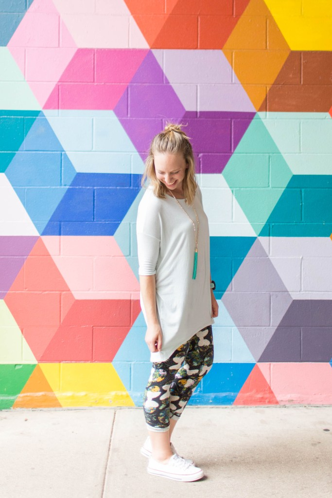 Go back to school shopping with LuLaRoe- Irma and printed leggings! | read more at happilythehicks.com