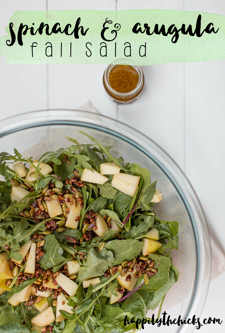 Spinach and Arugula Fall Salad | read more at happilythehicks.com