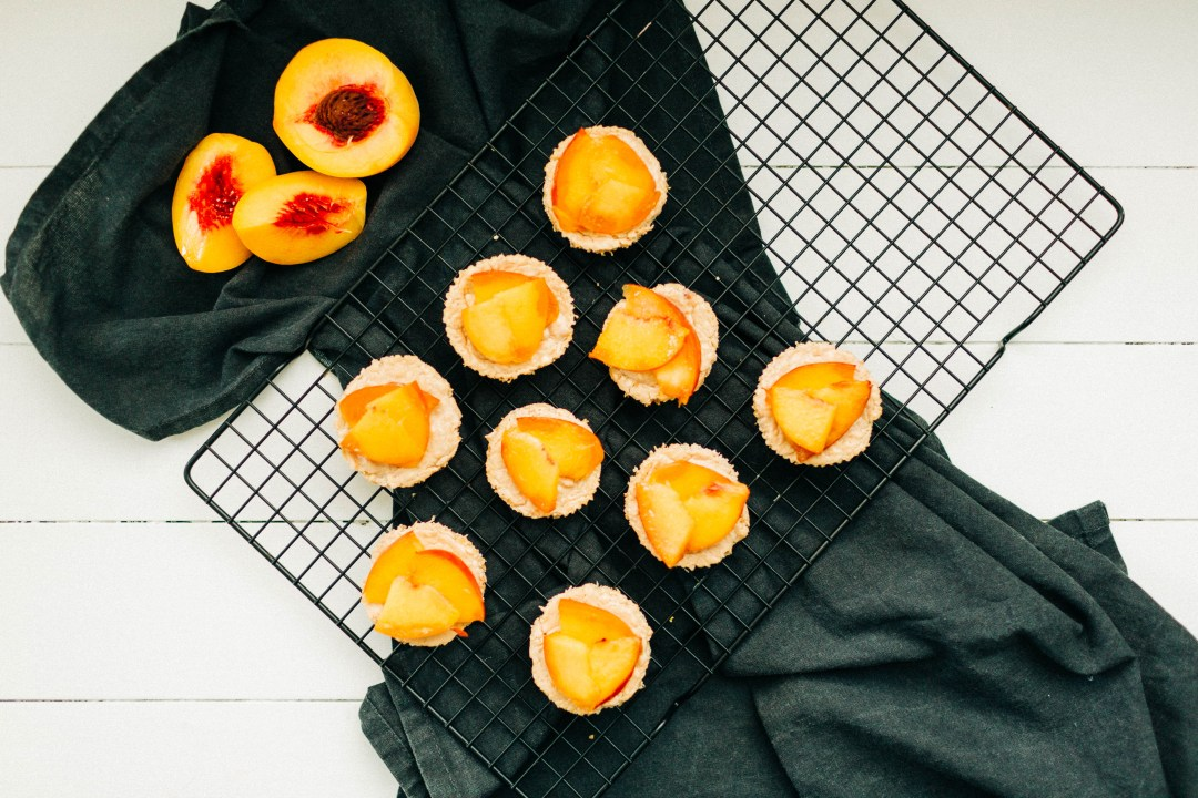 Peaches and Cream Mini Cheesecakes