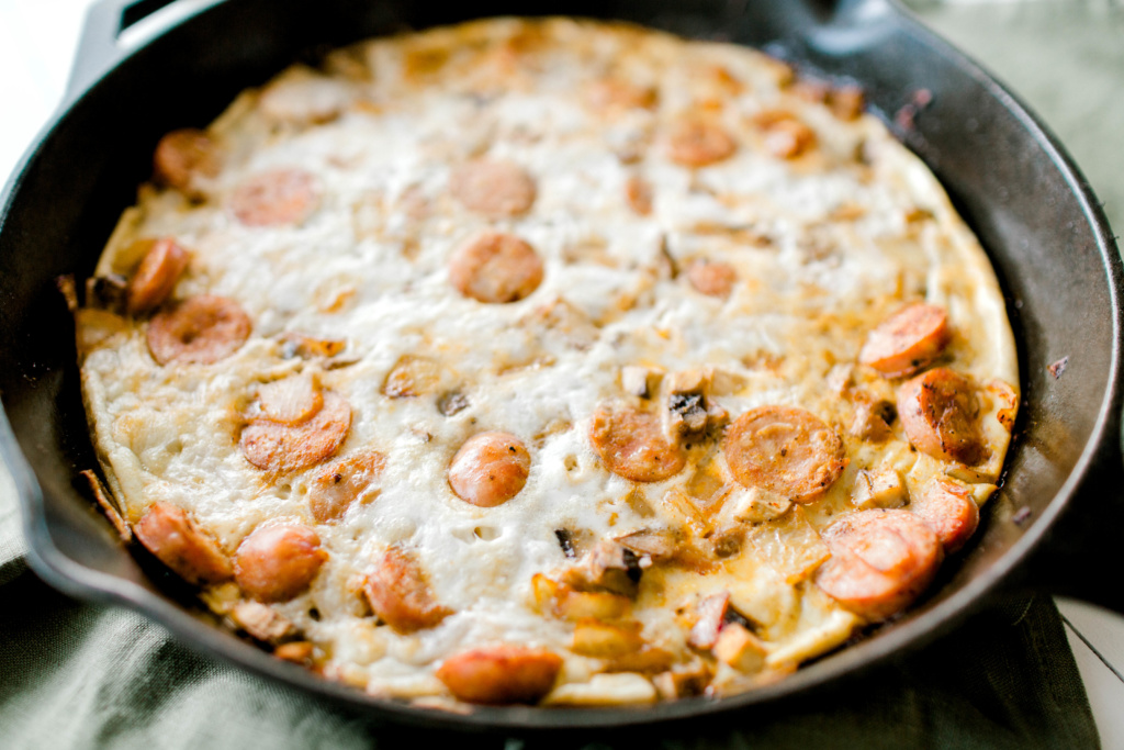Sausage, Mushroom and Onion Frittata | read more at happilythehicks.com