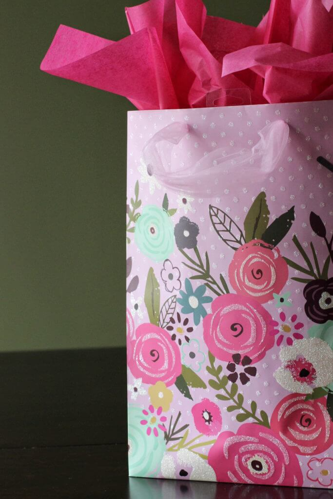 American Greetings Floral Glitter Gift Bag
