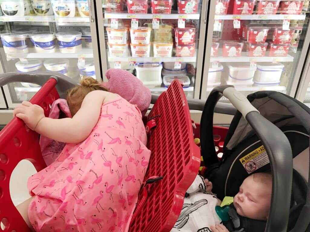 Blaire and Ben Sleeping in Cart May 2017