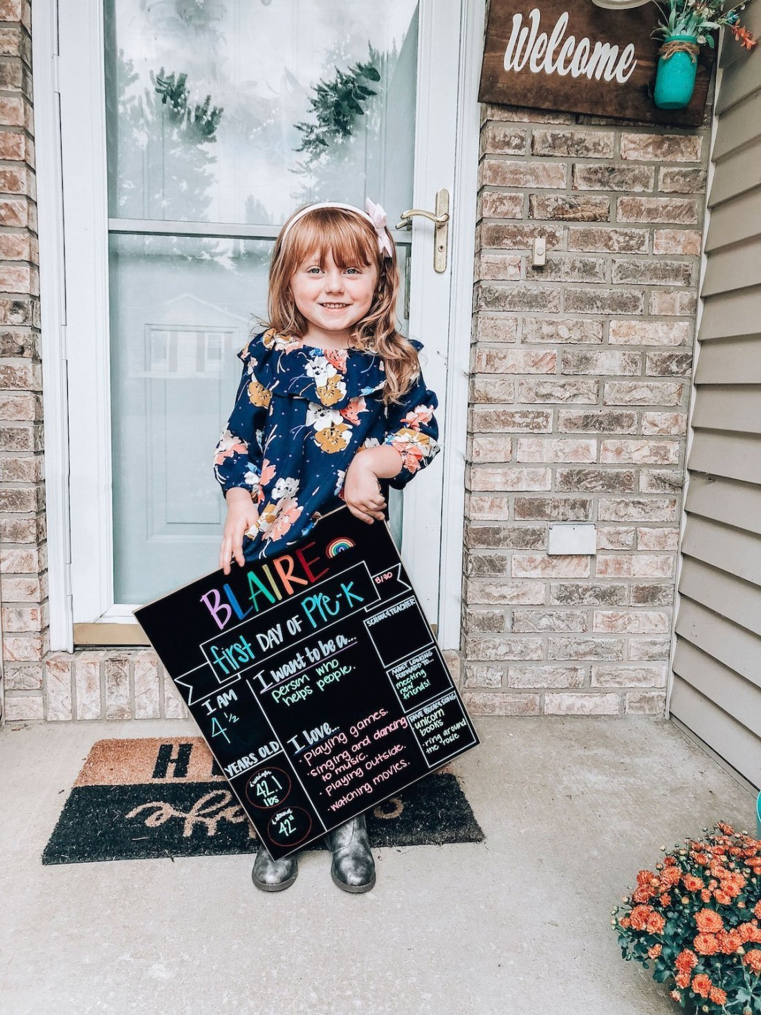 Blaire's first day of prek