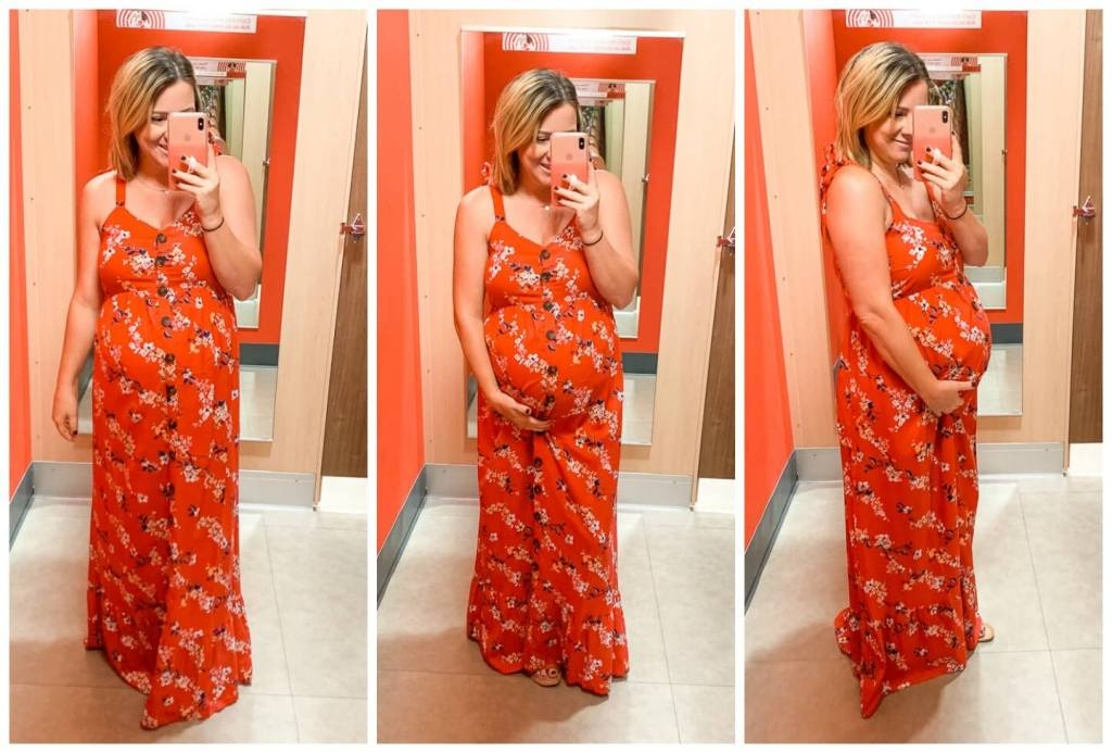 Target Try On: Summer Dresses /  Maternity Floral Print Sleeveless V-Neck Button Front Maxi Dress - Isabel Maternity by Ingrid & Isabel™ Red