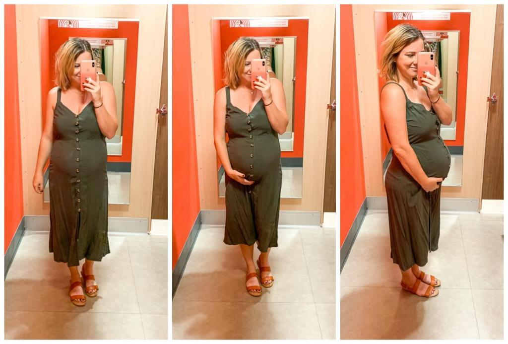 Target Try On: Summer Dresses / Women's V-Neck Strappy Button Front Midi Dress - Xhilaration™ Olive