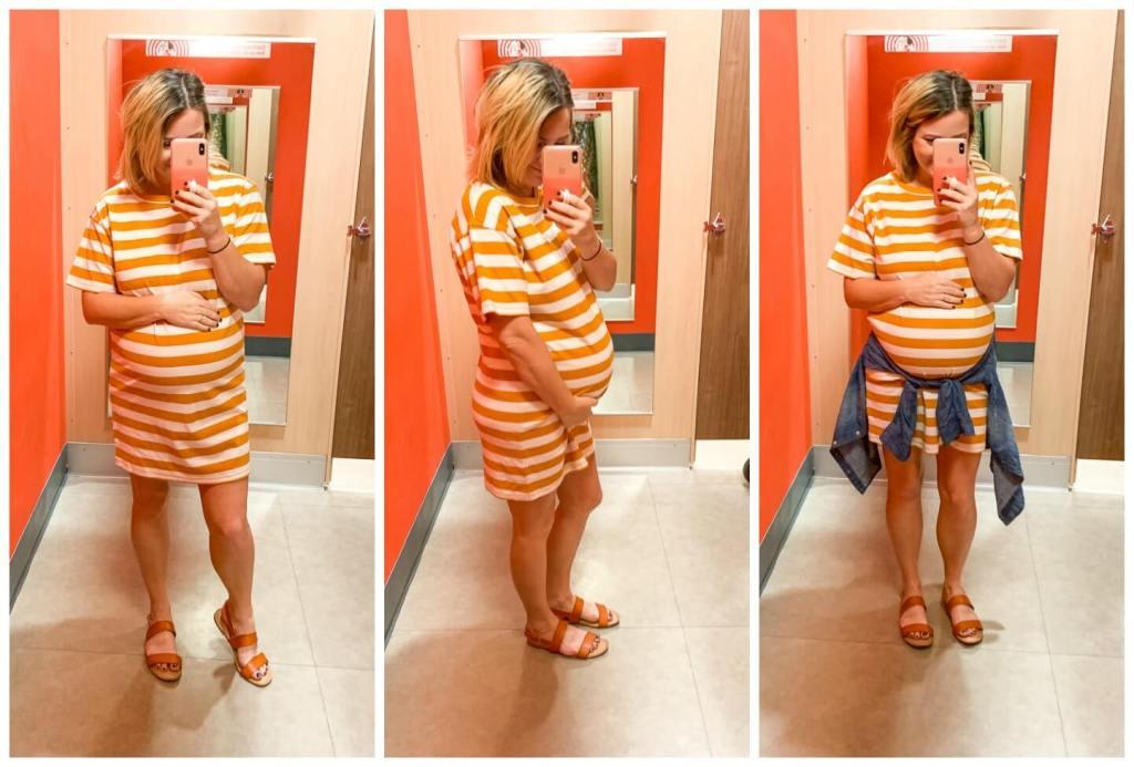 Target Try On: Summer Dresses / Women's Striped Short Sleeve Round Neck T-Shirt Dress - Wild Fable™ Orange/White