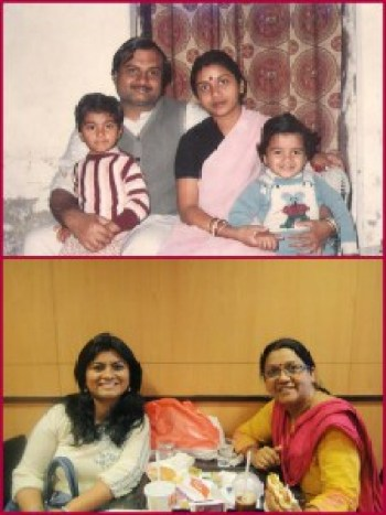 I am on the left and Mom is always right!! With parents and brother in the first pic and with mum in the second..