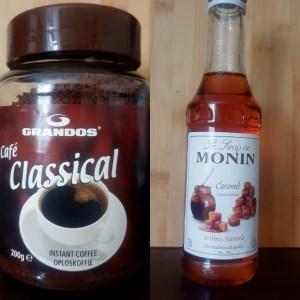Ingrediënten karamel ijskoffie