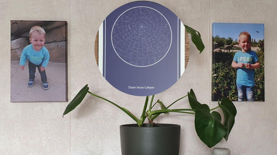 Persoonlijke muurdecoratie sterrenhemel en canvas