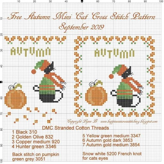 Free mini cat cross stitch pattern featuring a small black cat a pumpkin and autumn leaves to celebrate Autumn