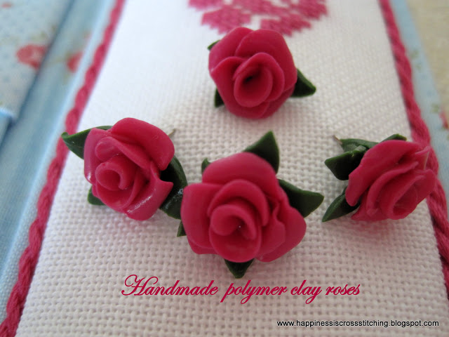 Handmade polymer clay roses to compliment the Toblerone needlecase