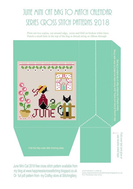 June calendar cross stitch image on a download digital bag featuring two mini black cats in their garden stood by the fence and a flower pot.