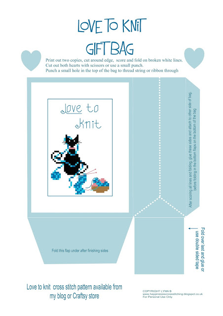 Love to knit mini cat gift bag by Lynn B