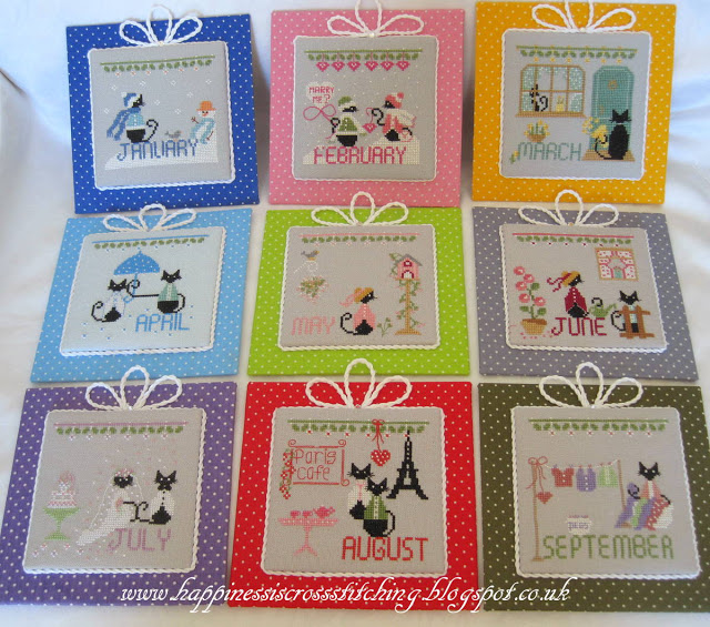 Calendar mini black cat cross stitch designs featuring a black cat for each month of the year from January to December