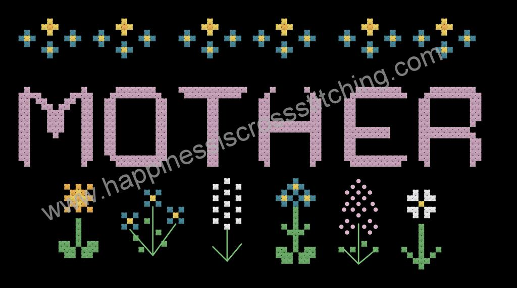 Free Mother's Day cross stitch pattern, the word Mother is surrounded by pretty flowers onto black fabric.