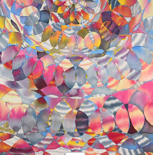 "Hadley Holliday, Sun Vault, 2012 Acrylic on canvas 63"" x 63"""