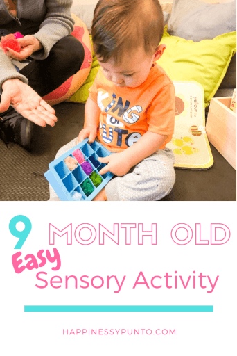Here is a 5 minute setup sensory activity that you can do with your 9 month old baby