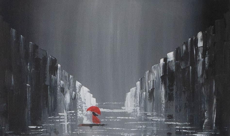 Acrylbild 'Red Umbrella' – 100 x 60 cm