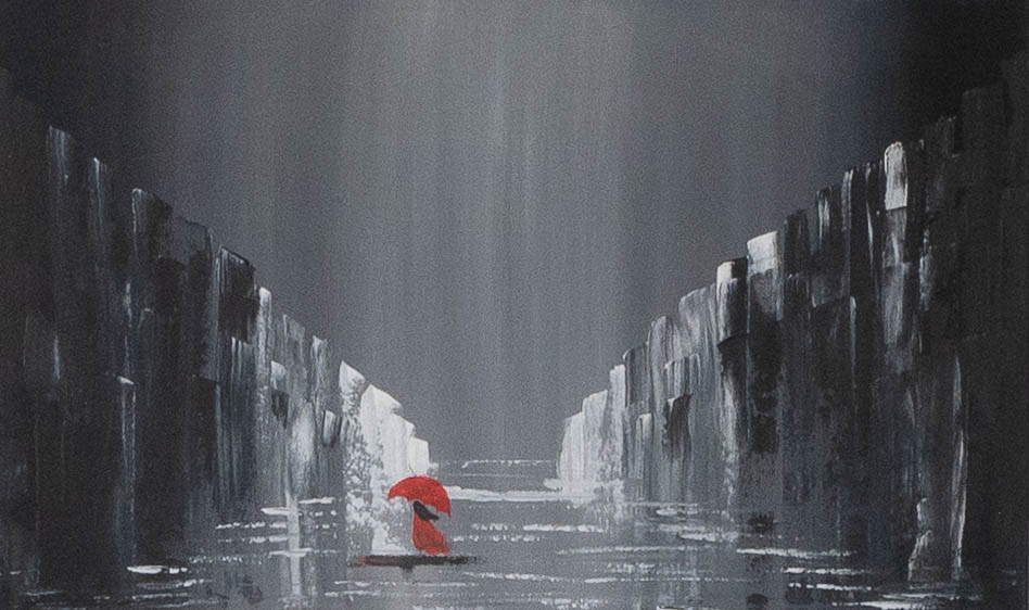 Acrylbild 'Red Umbrella' – 100 x 60 cm