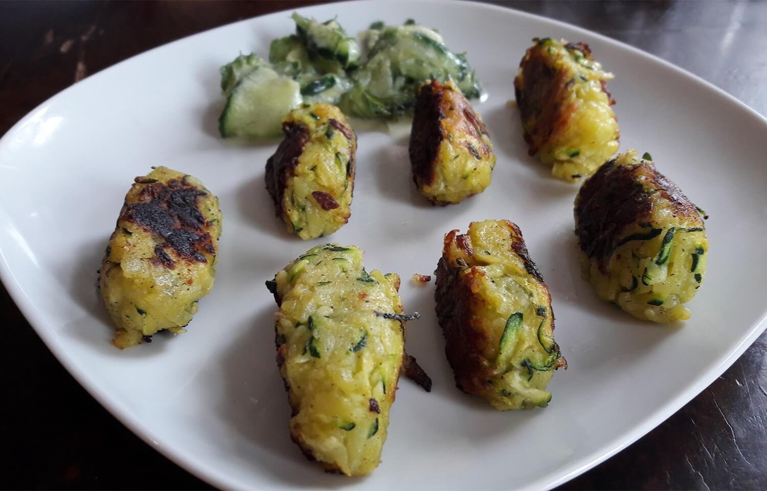 Croquettes with cucumber salad