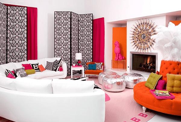 модерен интериор - идеи за декорация в оранжево и бяло