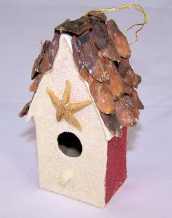 papier mache birdhouse ornament