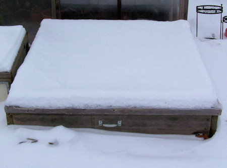 cold frame in February, covered with snow