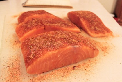 salmon with spices and ready for skillet