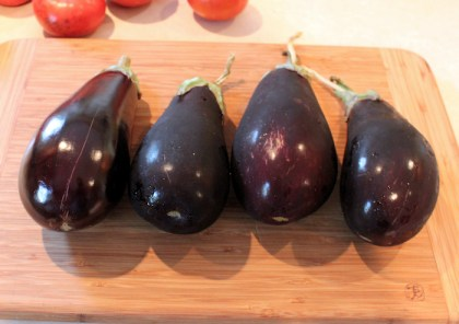 harvest of Italian eggplants