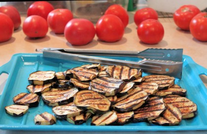 grilled eggplant ready for casserole