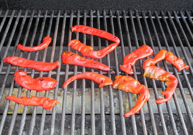 Jimmy Nardello peppers on the grill