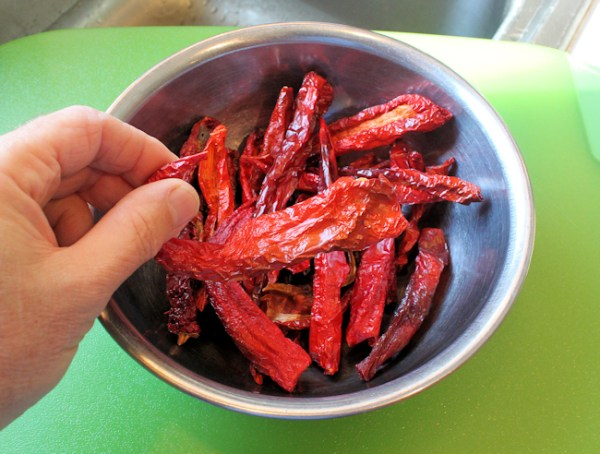 dried chiles ready for grinding into powder