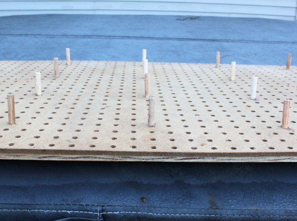 closeup of dowels in jig