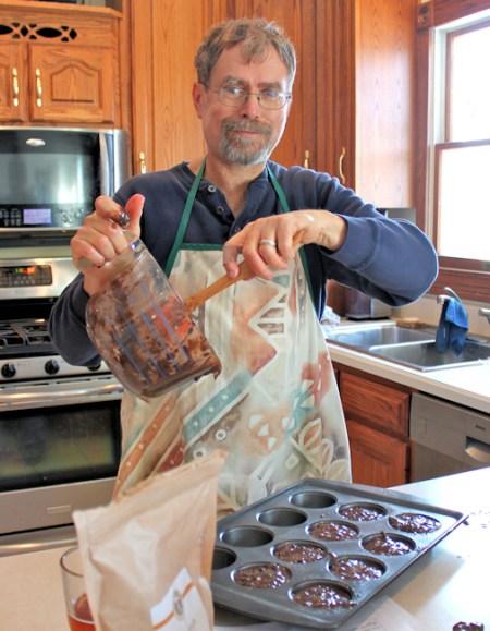 making zucchini muffins
