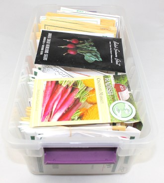 seed packets in storage container
