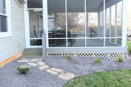 new landscaping with stepping stones