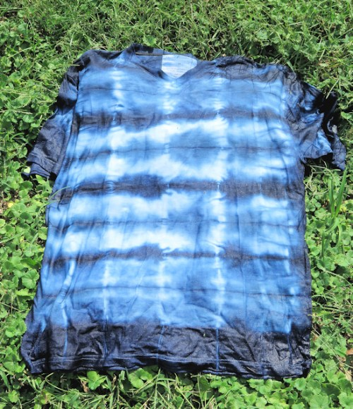 indigo dyed shirt after being exposed to air