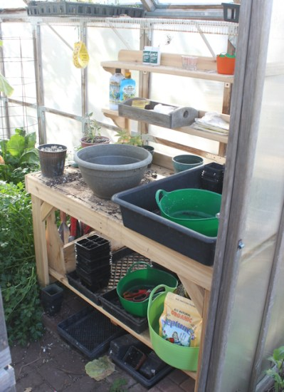 new potting bench in greenhouse
