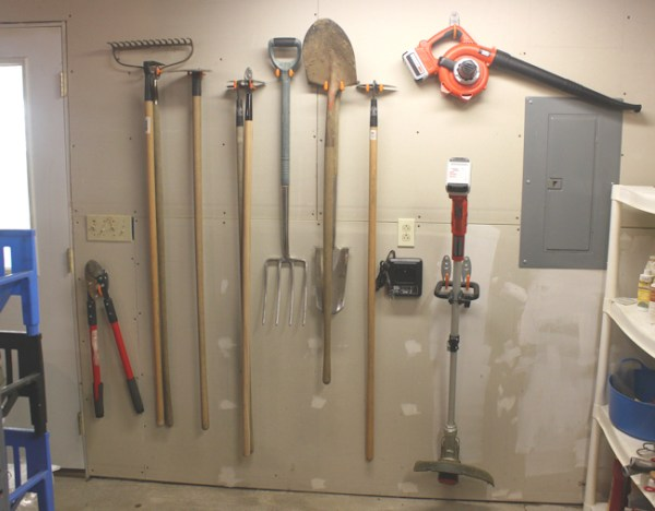 garden tools on shop wall