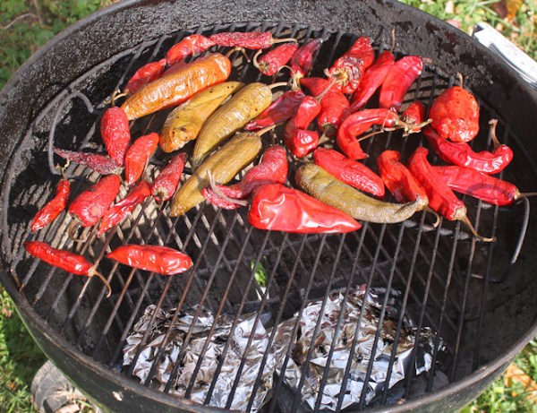 smoking peppers on the grill