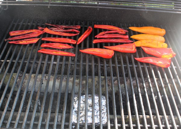 smoking peppers on gas grill